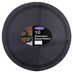 "12"" Black Foil Round Trays Per 10"