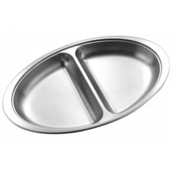 "12"" Vegetable Dish 2 Divide Stainless Steel"