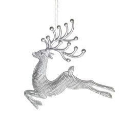 Silver Christmas Reindeer Decoration - Each