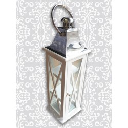 78cm Lantern Square White Wood - Each