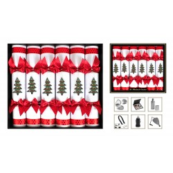 """14"""" Wooden Tree Red And White Cracker Per 6"""