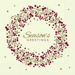 33cm 2Ply Seasons Greetings Serviettes / Napkins - Per 100