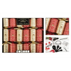 """14"""" Deluxe red and gold swirl crackers per 6"""