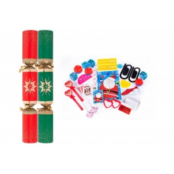 """11"""" Red & Green Star Christmas Crackers per 50"""