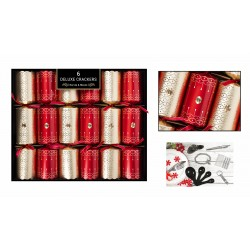 "13.5"" Deluxe Red & Gold Deco Christmas Crackers per 8"