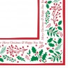 40cm 2ply Jolly Holly Serviettes Napkins per 125