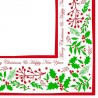40cm 3ply Jolly Holly Serviettes Napkins per 100